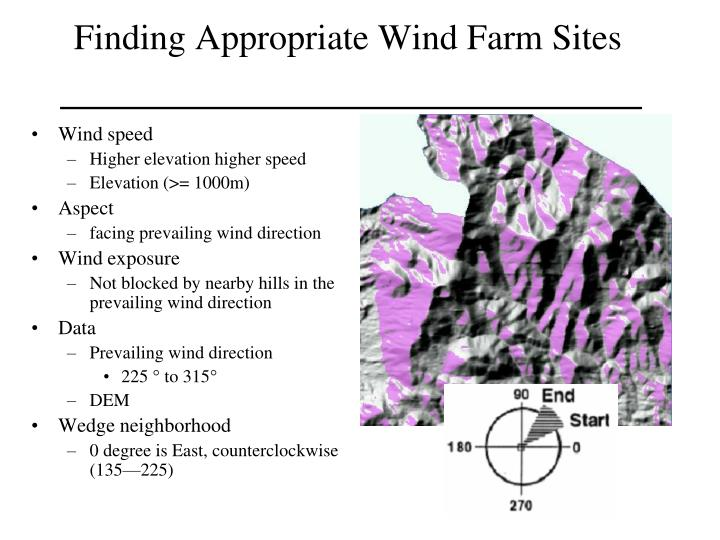 Finding Appropriate Wind Farm Sites