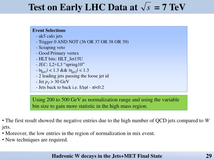 Test on Early LHC Data at       = 7