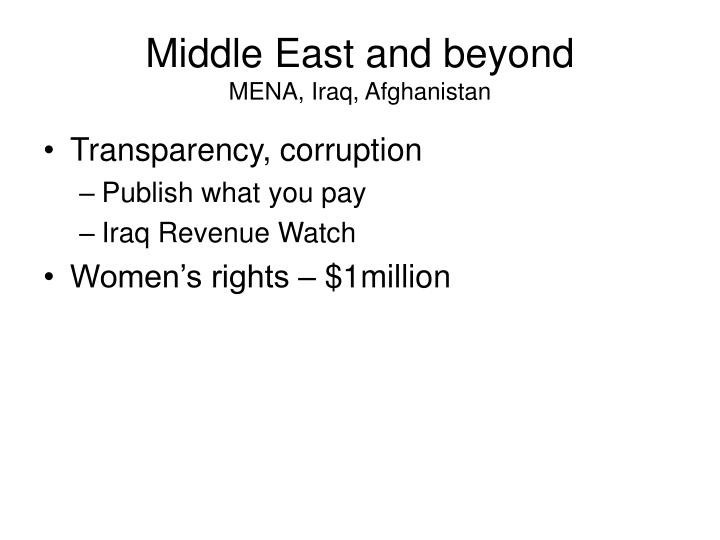 Middle East and beyond