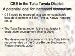 cbe in the taita taveta district a potential local for increased ecotourism