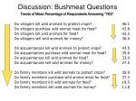 discussion bushmeat questions