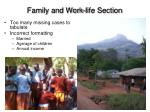 family and work life section