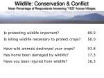 wildlife conservation conflict mean percentage of respondents answering yes across villages