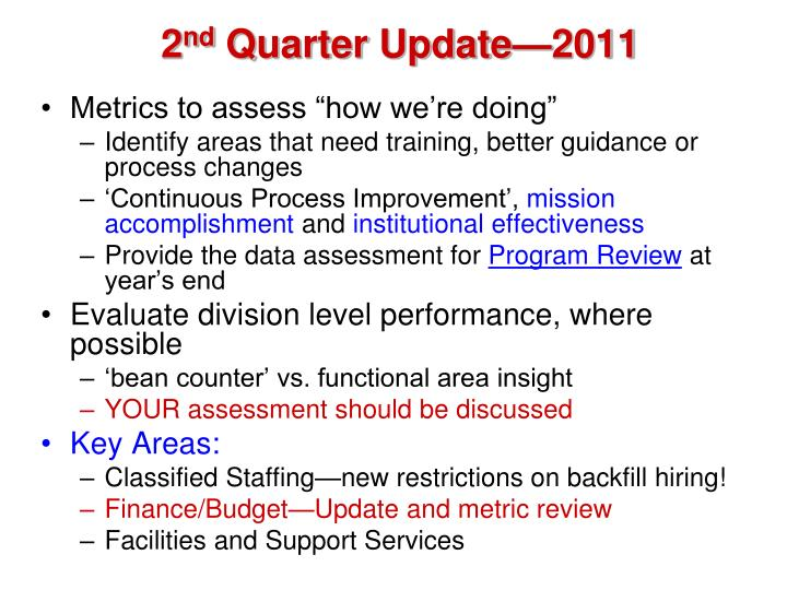 2 nd quarter update 2011