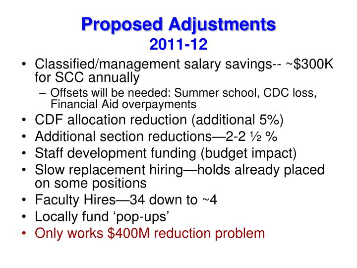 Proposed Adjustments
