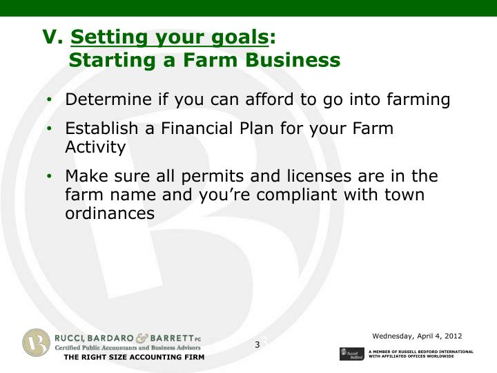 V setting your goals starting a farm business
