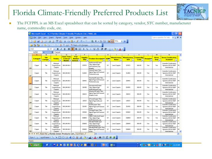 Florida Climate-Friendly Preferred Products List