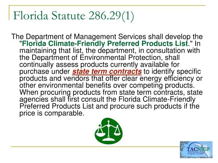 Florida statute 286 29 1