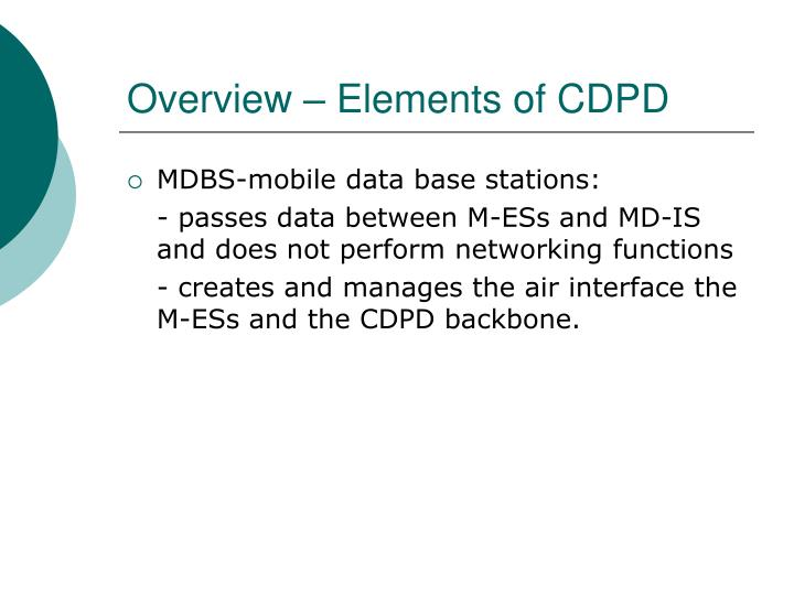 Overview – Elements of CDPD