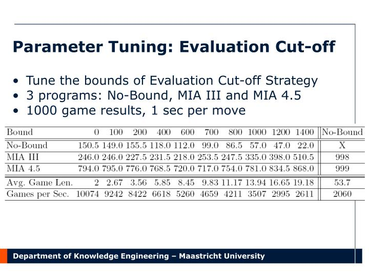 Parameter Tuning: Evaluation Cut-off