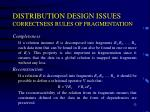 distribution design issues correctness rules of fragmentation