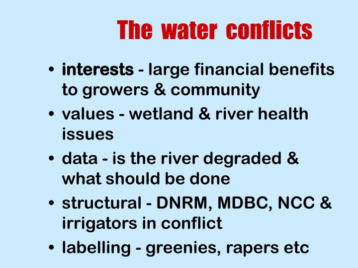 The  water  conflicts