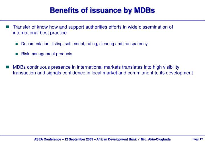 Benefits of issuance by MDBs