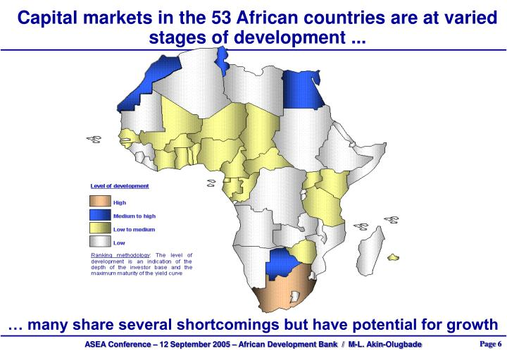 Capital markets in the 53 African countries are at varied stages of development ...