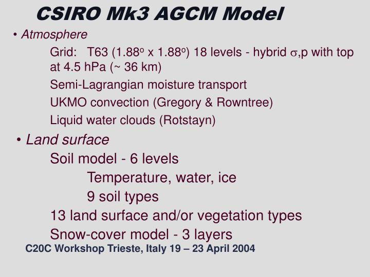 CSIRO Mk3 AGCM Model