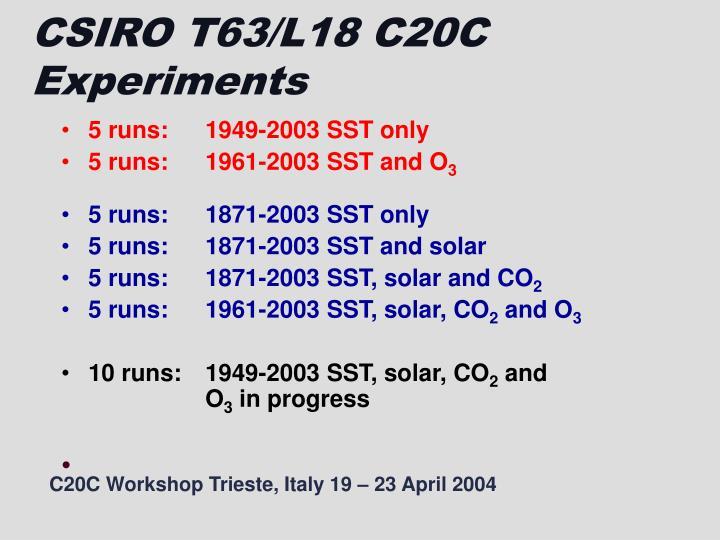 CSIRO T63/L18 C20C Experiments