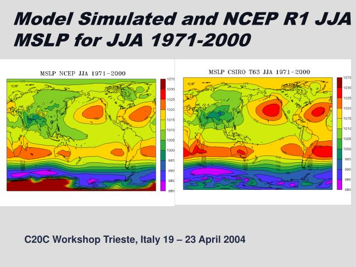 Model Simulated and NCEP R1 JJA MSLP for JJA 1971-2000