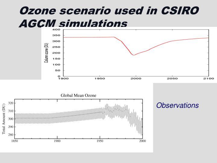 Ozone scenario used in CSIRO AGCM simulations