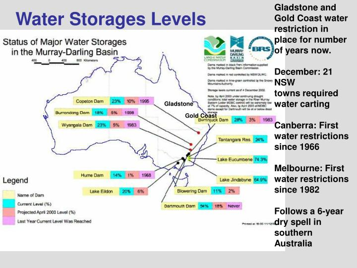 Gladstone and Gold Coast water restriction in place for number of years now.