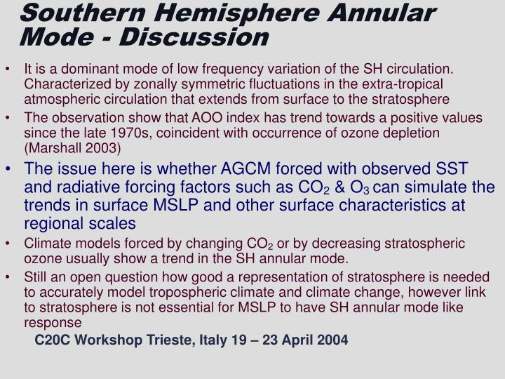 Southern hemisphere annular mode discussion