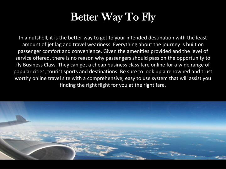 Better Way To Fly