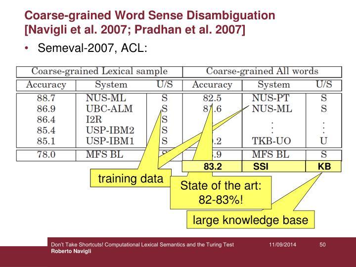 Coarse-grained Word Sense Disambiguation