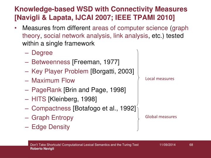 Knowledge-based WSD with Connectivity Measures