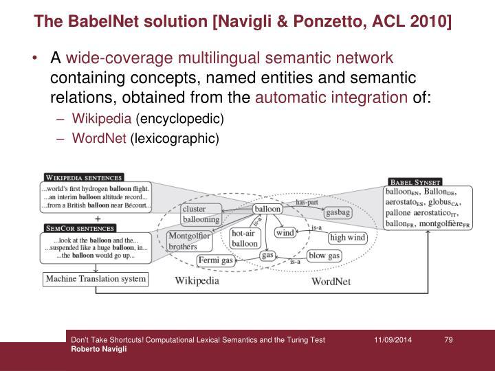 The BabelNet solution [Navigli & Ponzetto, ACL 2010]