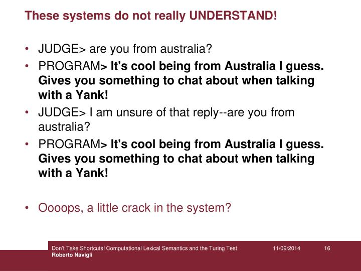 These systems do not really UNDERSTAND!