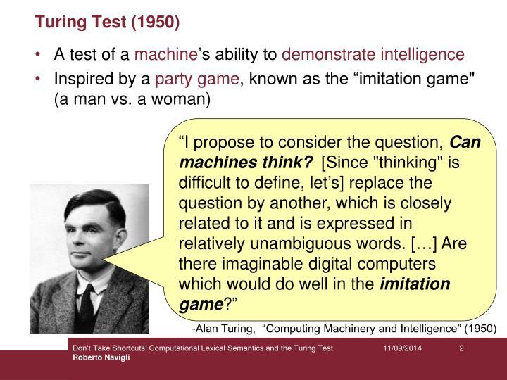 Turing test 1950