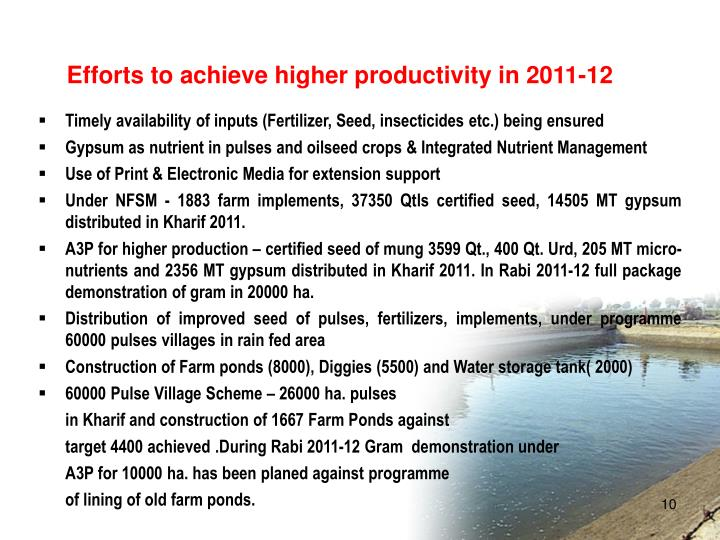 Efforts to achieve higher productivity in 2011-12
