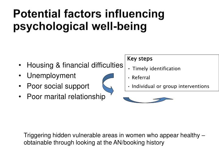 Potential factors influencing psychological well-being