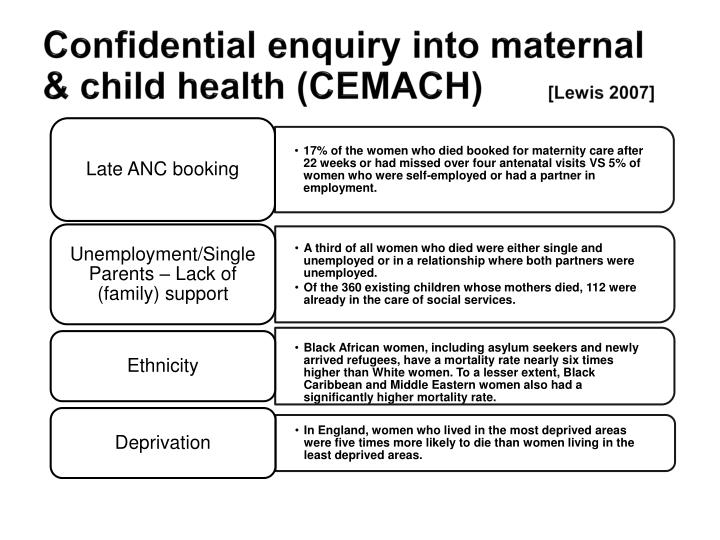 Confidential enquiry into maternal & child health (CEMACH)
