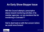 an early show stopper issue