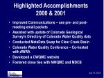 highlighted accomplishments 2000 2001