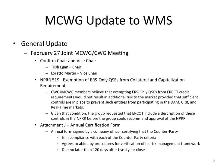 Mcwg update to wms1