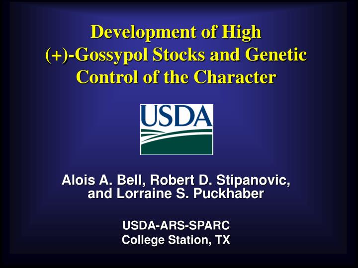 Development of high gossypol stocks and genetic control of the character