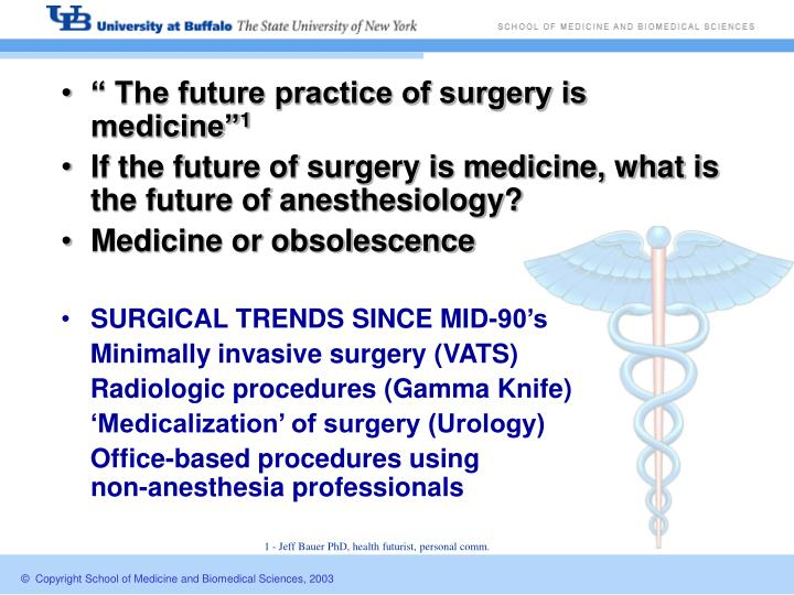 """ The future practice of surgery is medicine"""