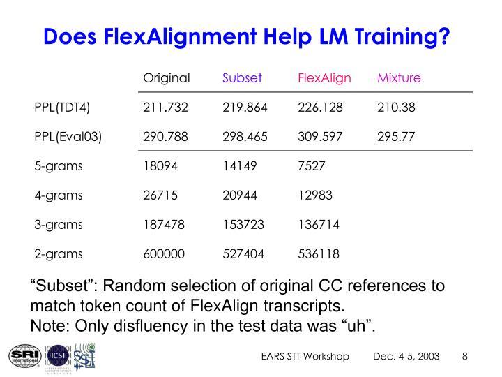 Does FlexAlignment Help LM Training?