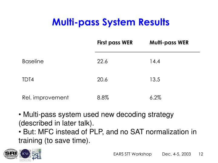 Multi-pass System Results