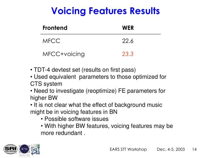 Voicing Features Results