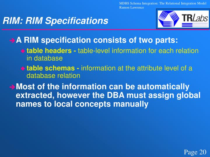 RIM: RIM Specifications
