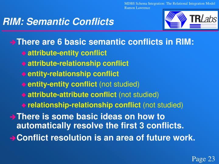 RIM: Semantic Conflicts