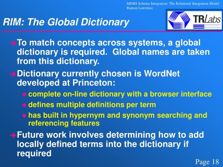 RIM: The Global Dictionary