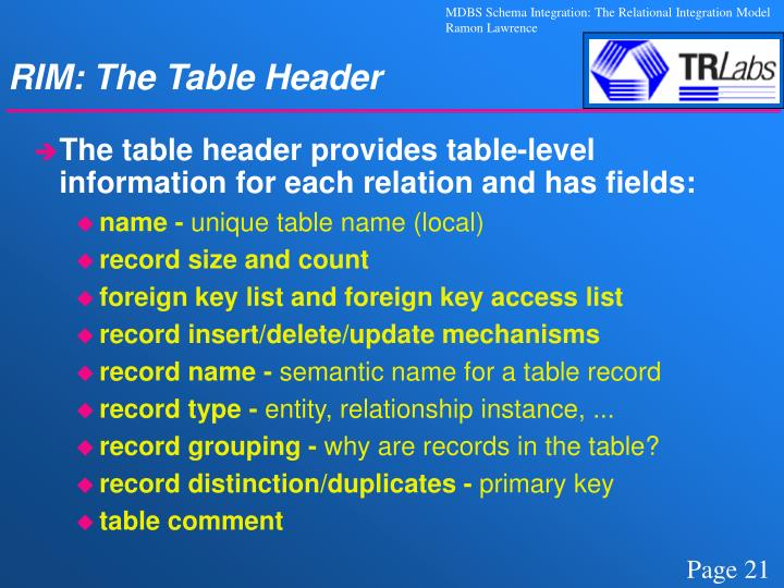 RIM: The Table Header