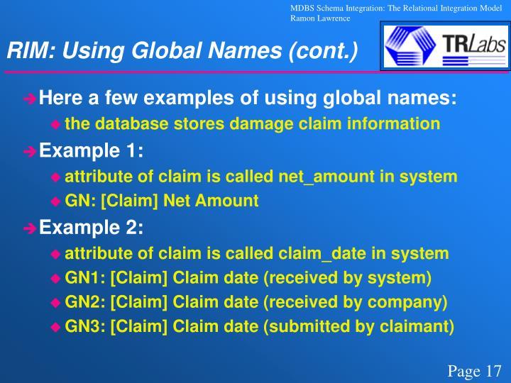 RIM: Using Global Names (cont.)