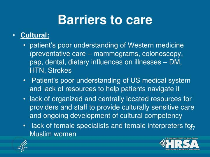 Barriers to care