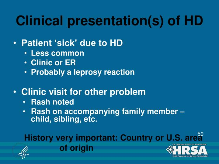 Clinical presentation(s) of HD