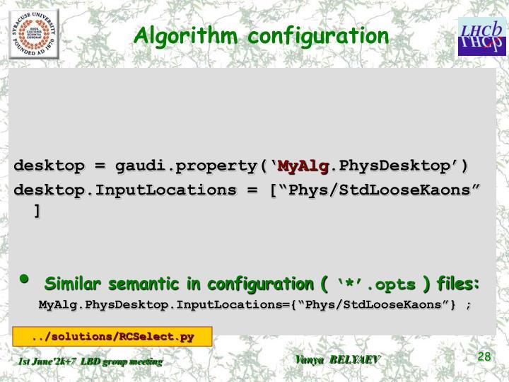 Algorithm configuration