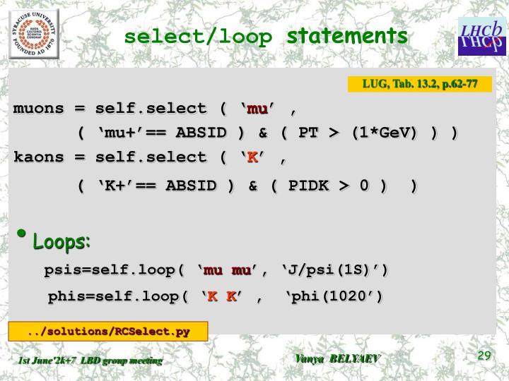 select/loop